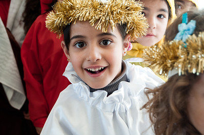 A student waits to go on stage as part of a nativity play at the Talitha Kumi Evangelical Lutheran School in Beit Jala.