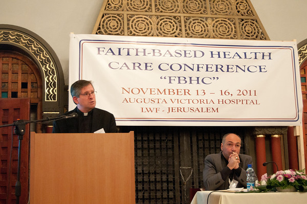 Rev. Mark Brown, Regional Representative for the Lutheran World Federation in Jerusalem, speaks at the opening of the East Jerusalem Conference on Faith Based Health Care at the Augusta Victoria Hospital