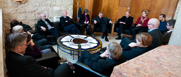 Bishop Younan visits with Church of Norway Delegation, including Presiding Bishop Helga Haugland Byfuglien, during their visit to the Middle East.